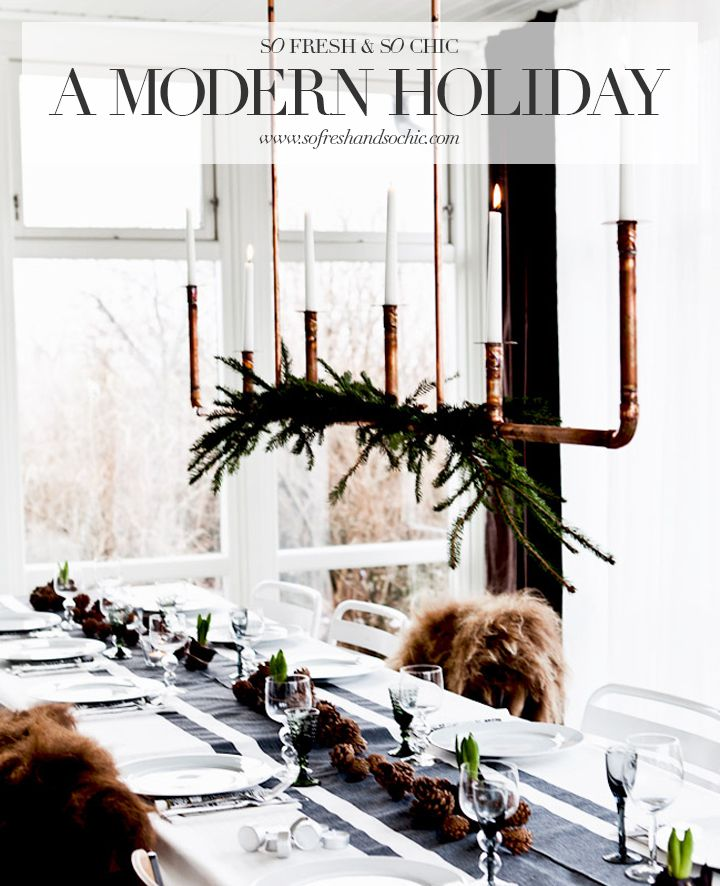 So Fresh & So Chic // Decorating for a Modern Holiday with Black, White and Copper #sofreshandsochic #modernholiday #homedecor