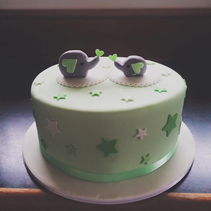Green Themed Baby Shower Cake With Cute Wee Elephants