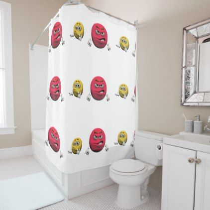 Yellow and red angry emoticon or smiley shower curtain - shower curtains home decor custom idea personalize bathroom