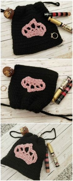 Black pouch with a p