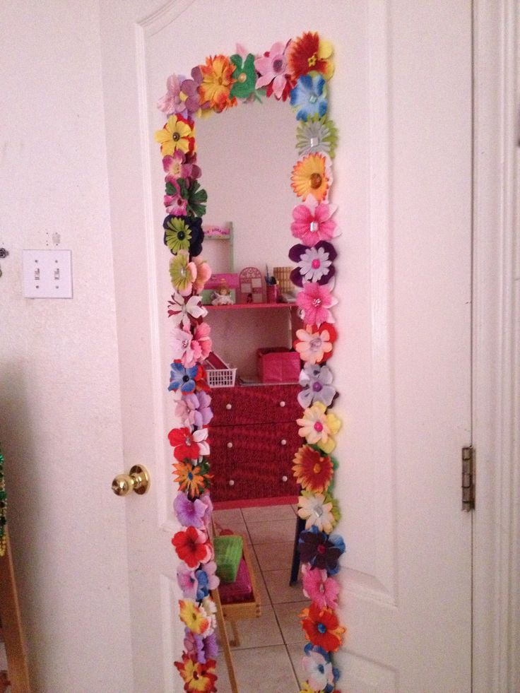 I took a simple door mirror and added flowers with gems in the center of  each. 11 best Ideas for little girls room images on Pinterest   Door