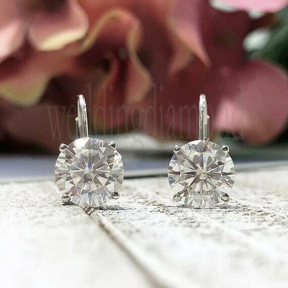 Each One 4 mm Near White Moissanite 2 Stone Huggie Earrings 925 Sterling Silver