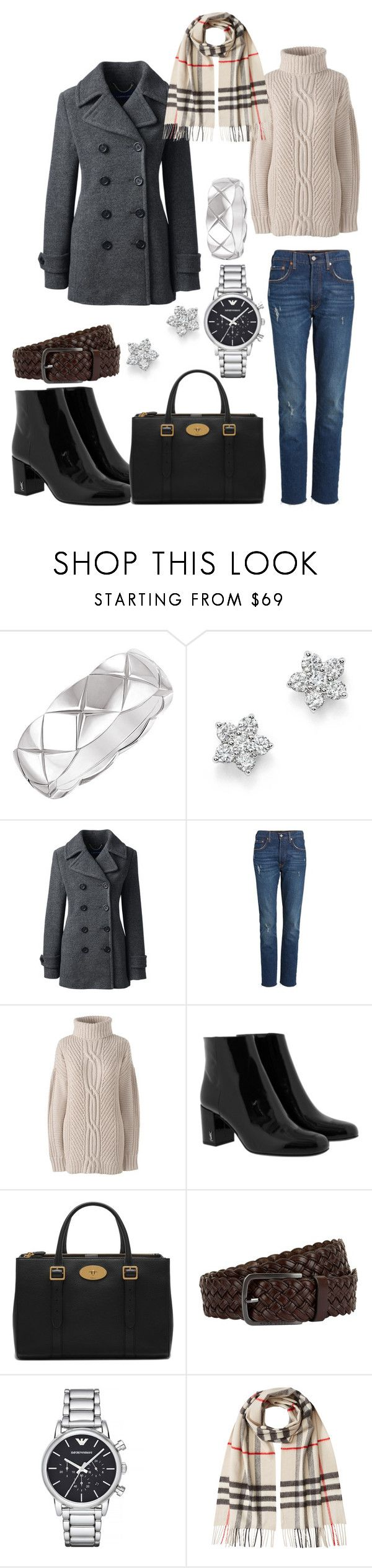 """""""OUTFIT OF THE DAY"""" by andreamartin24601 ❤ liked on Polyvore featuring Chanel, Bloomingdale's, Lands' End, Levi's, Yves Saint Laurent, Mulberry, BOSS Hugo Boss, Emporio Armani, Burberry and plus size clothing"""