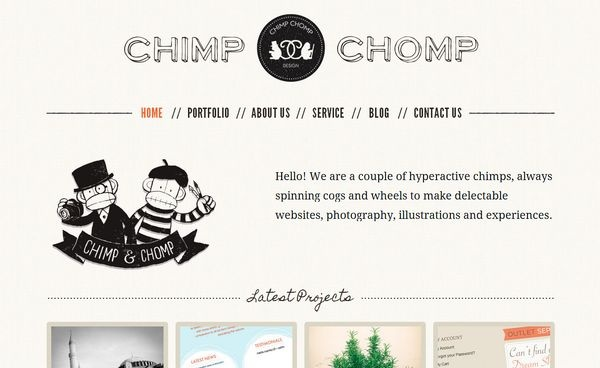 Chimp Chomp website : Minimal Web Design