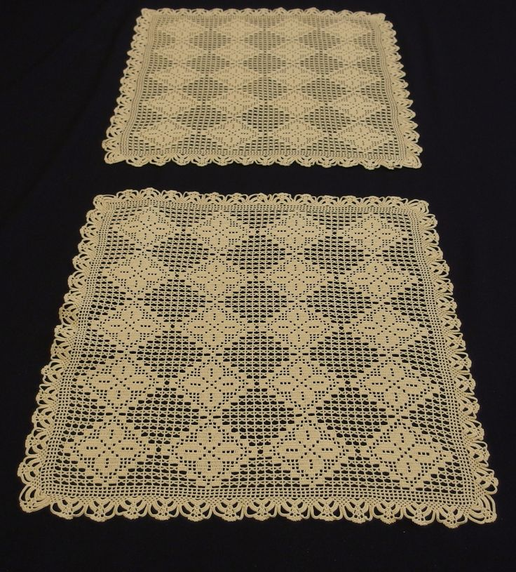 Vintage Pair of Square Lace Tablecloths - Large Doilies Handcrocheted Beige Geometric - pillow cover by VintageHomeStories on Etsy #Vintage #Tablecloths #pair #Setoftwo #setof2 #largedoilies #crochet #lace #table #home #decor #dining #pillow
