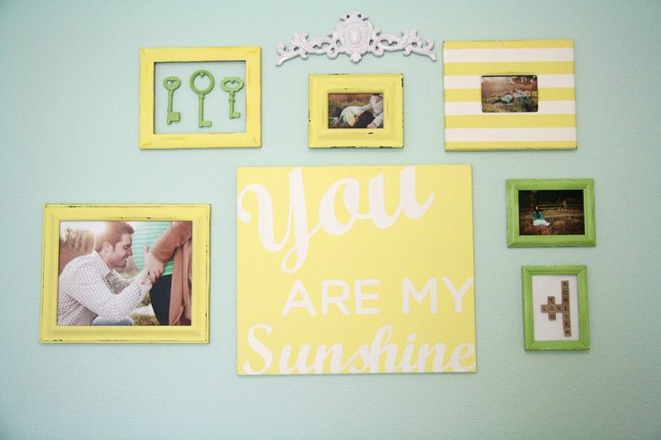Colorful Nursery Gallery Wall: Yellow Gallerywall, House Ideas, Future, Playroom Bedroom Etc, Nursery Ideas, Grace S Aqua, Sweet Gallerywall, Baby Rooms, Yellow Abode