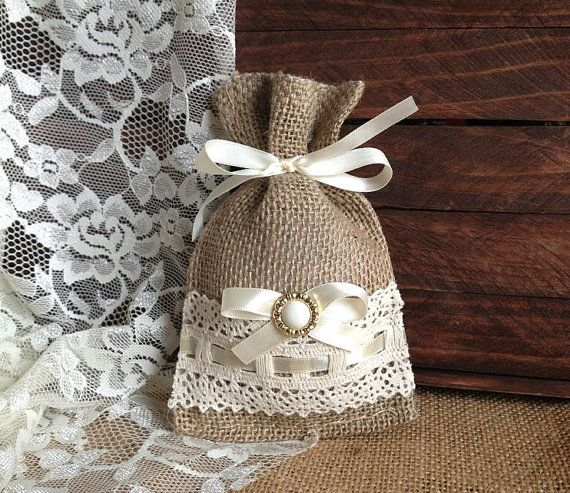 Items similar to lace covered burlap favor bag, wedding, bridal shower, tea party gift bag on Etsy