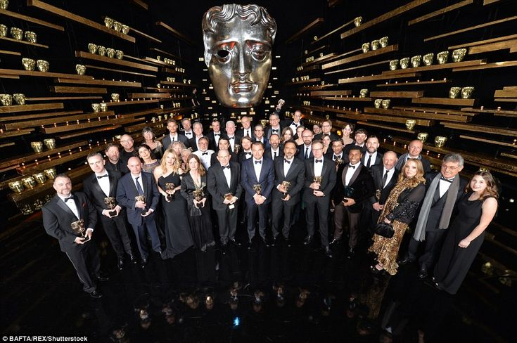 The BAFTA winners assembled for a group shot as the show wrapped, each of them clinging to their awards