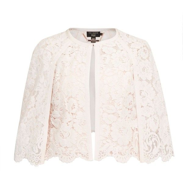 Ted Baker Johdiye Lace Scalloped Hem Cape ($235) ❤ liked on Polyvore featuring outerwear, pale pink, women, pink cape, pink cape coat, ted baker, short cape and lace cape