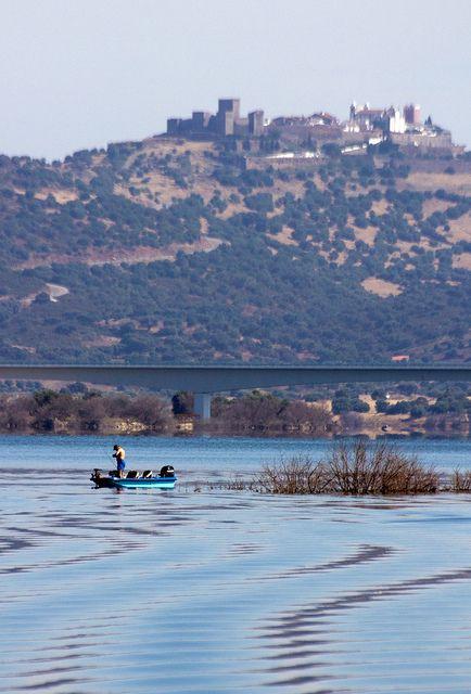 Monsaraz #castle on the top of the hill - Algueva lake #Alentejo #Portugal