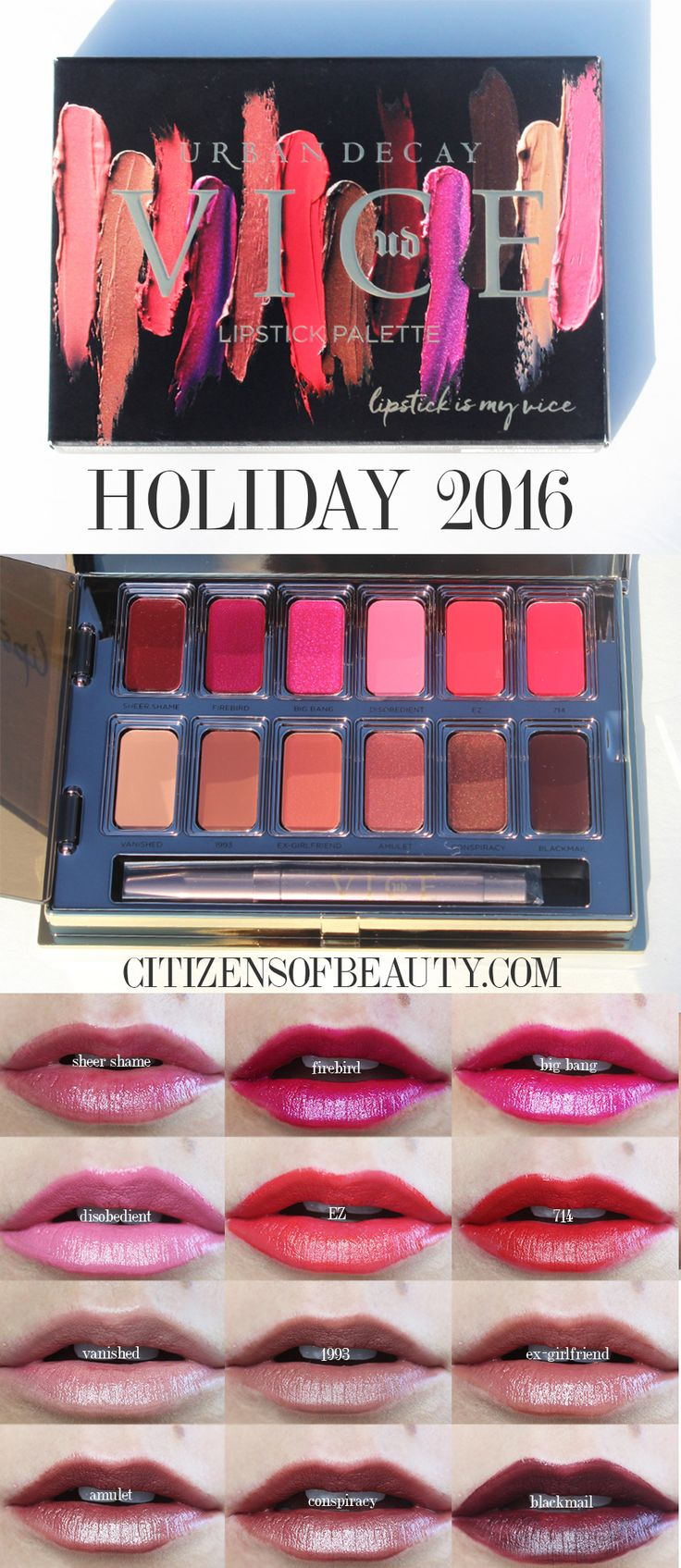 The Urban Decay Vice Lipstick Palettes in Junkie and Blackmail are two hot beauty products you are going to want to grab from the Urban Decay Holiday 2016 collection this September! Not only are both lipsticks palettes affordable (only $35), each one has 12 gorgeous colors that are perfect for fall and winter beauty.
