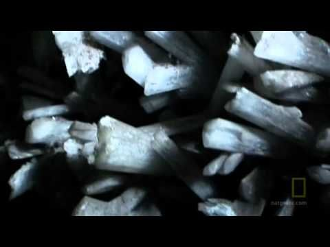 The Lost Crystal Caves - The Naica Mine in Chihuahua, Mexico. Interesting facts: ♦ They are made of a kind of gypsum, the same material as in dry wall. ♦ The chambers are along a fault line with magma heating them up to 150 F = 65.5 C. ♦ The largest crystal is 36 ft long, (11 m), 13 ft wide (4m) and weighs 55 tons. ♦ The gypsum is so soft it can easily be scratched and damaged by tool, boots, even a fingernail. ♦ The chambers are 1200 feet = 365 meter, below the surface.