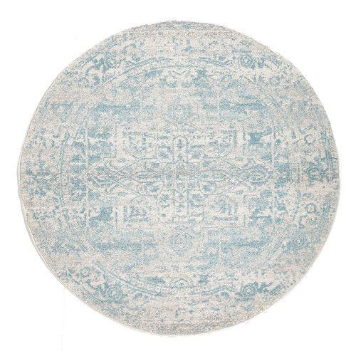 Network Rugs Bone, White & Blue Round Art Moderne Cezanne Rug