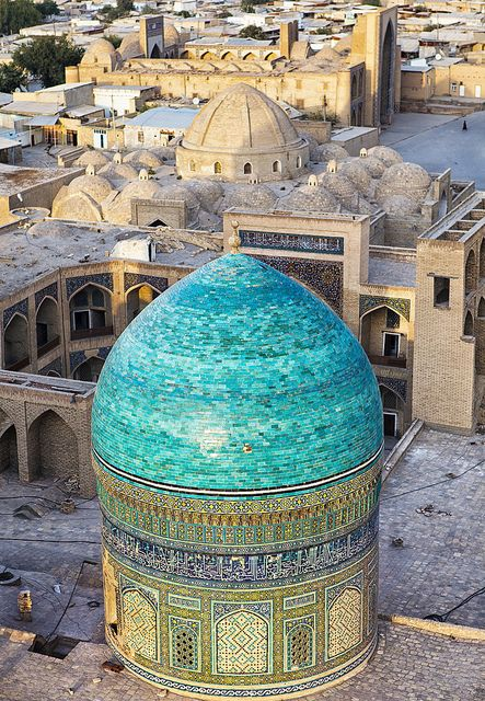 View from Kalon Minaret, Bukhara, Uzbekistan. Bukhara is a city-museum, with about 140 monuments of architecture. (V)