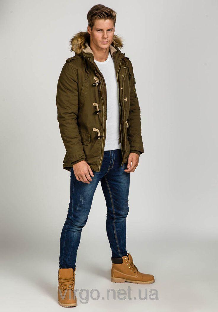 Зимняя мужская куртка парка оливкового цвета
