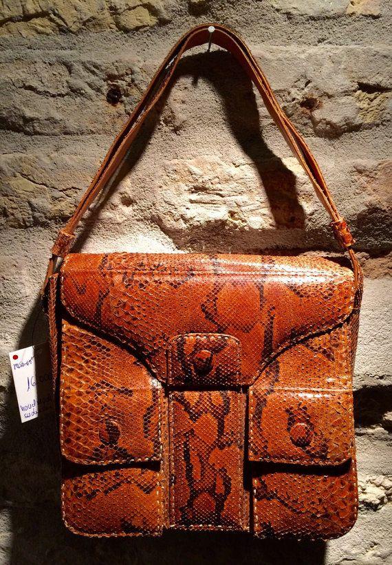 1960's handmade snakeskin shoulder bag with by nicevintageshop