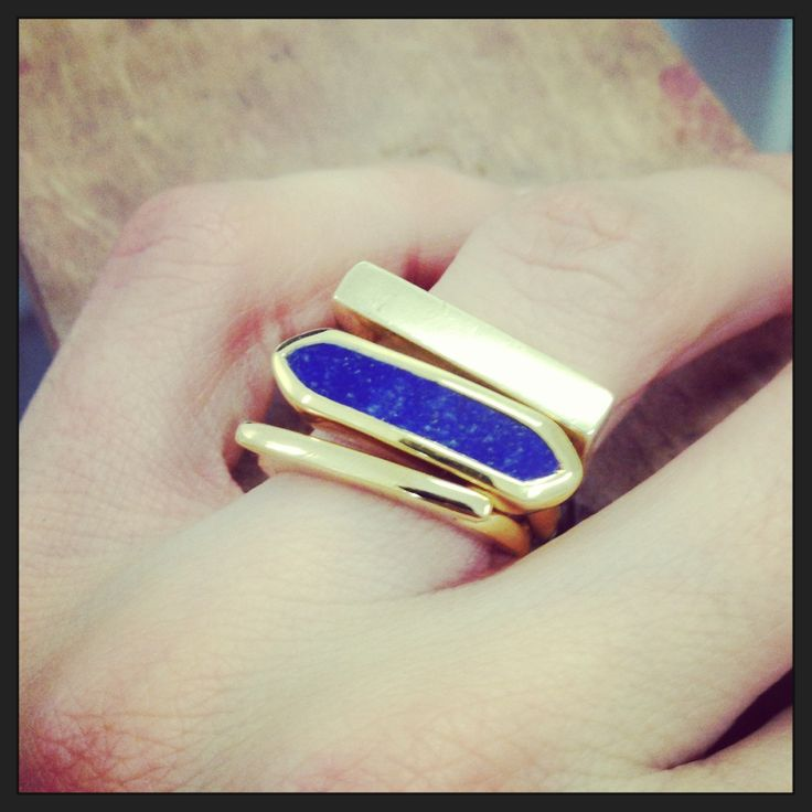 Mixing Monica Vinader stacking rings with my own gold bar design #minimalist