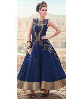 New Blue Silk Designer Gown.