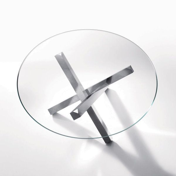 Tavolo rotondo con piano in vetro Aikido