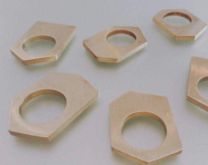 Solid brass multi-angular rings