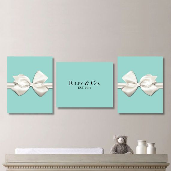 Personalized Tiffany & Co Bow Print Trio - Home. Decor. Baby. Shower. Gift. Nursery. Girl.Custom  - You Pick the Size (NS-264)