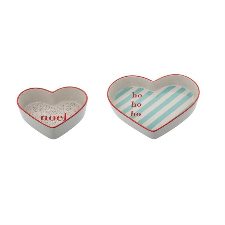 Ceramic Heart Shaped Bowls, Set of 2 by Bloomingville