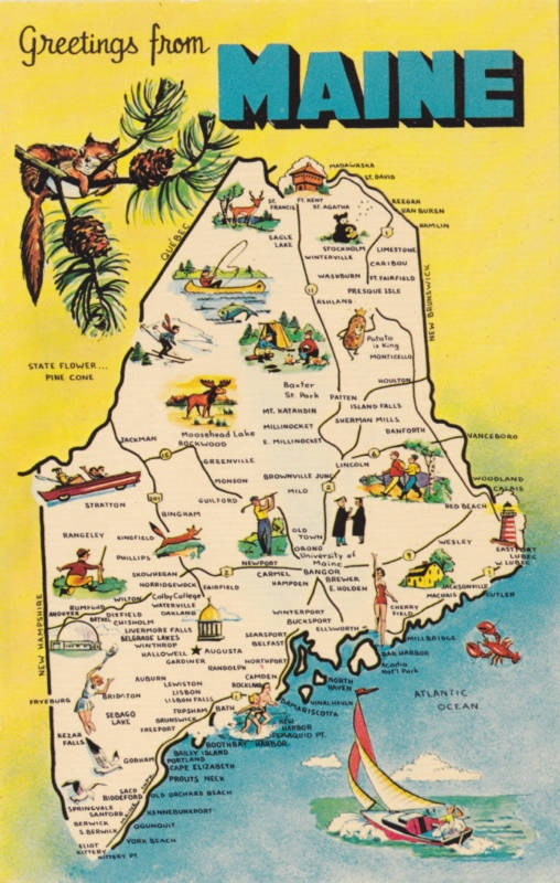 Best Maine Images On Pinterest Maine Lobsters And Maine - Main state map