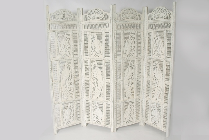 Antique White Hand Carved Wooden Screen Folding Screens And Room Dividers