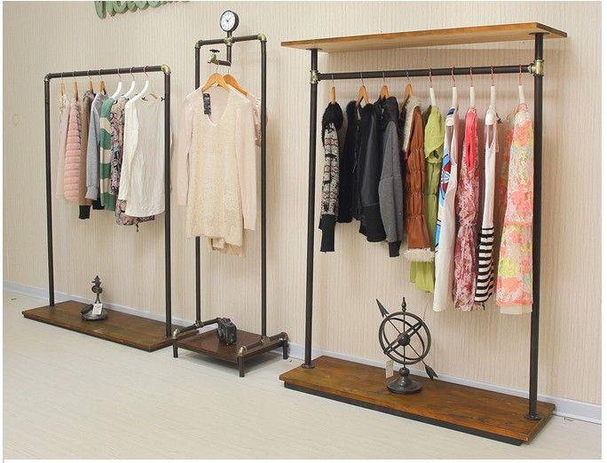 Американских ретро железа этаж вешалка труба вешалка дерево одежды вешалка магазин дисплей полки стойки купить на AliExpress