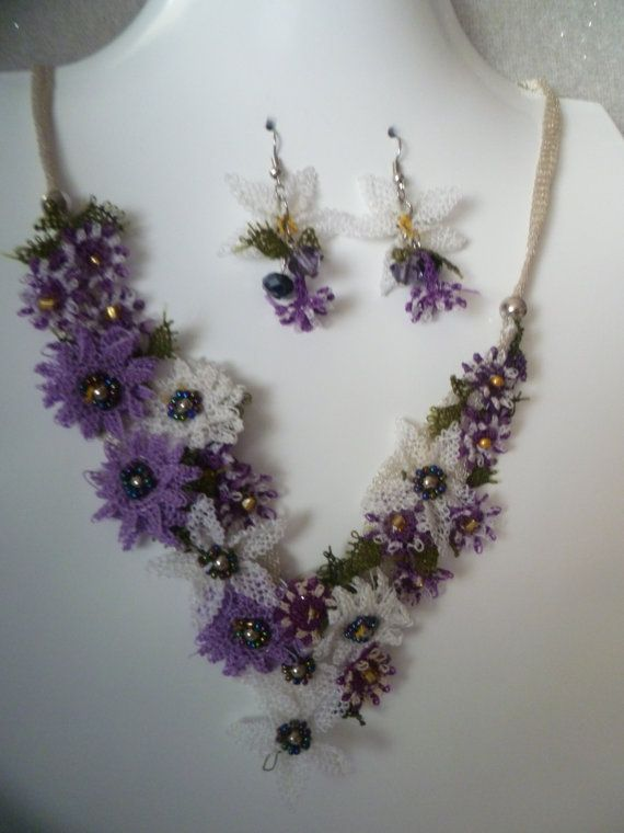 Lilac White Needle Lace Necklace Set by KamuranDesigns on Etsy, $75.00