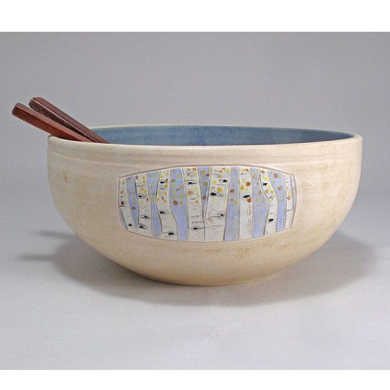 Original work by Jamie E. Hatch. Stoneware, wheel-thrown bowl with carved aspen embellishments.