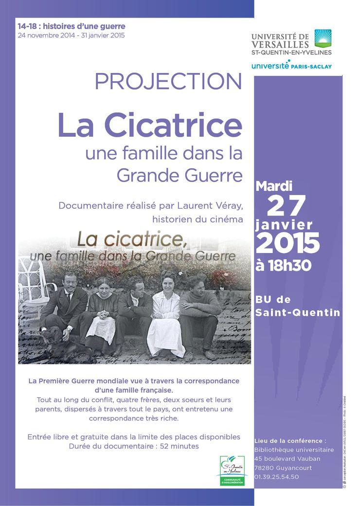 """Affiche pour projection du film """"La Cicatrice"""" de Laurent Véray."""