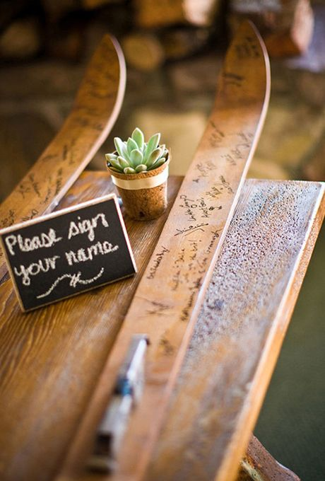 Brides.com: . Have guests sign a pair of old skis that you could later mount for a memorable display.
