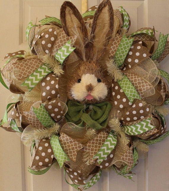 Wreath Spring Wreath Easter Wreath Bunny by WruffleWreathsbyLana