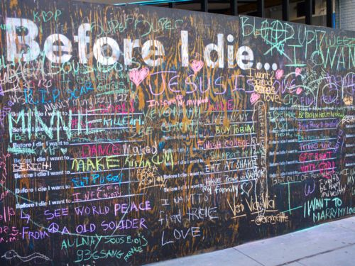 "The ""Before I Die"" Wall in Burgundy Street New Orleans, LA; Fulton Mall Brooklyn, NY; Ste. Catherine St. Montreal, Quebec; Strawbery Banke Portsmouth, NH; Plaza de Armas Queretaro, Queretaro Mexico; Chicago, IL; and soon Denver, CO."