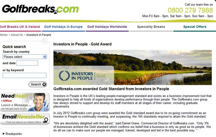 Golfbreaks.com awarded Gold Standard from Investors in People