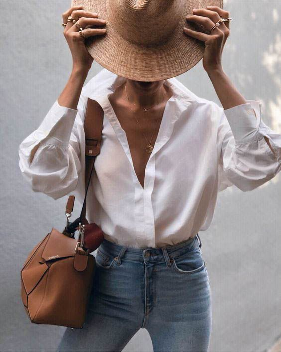 White button down + blue jeans