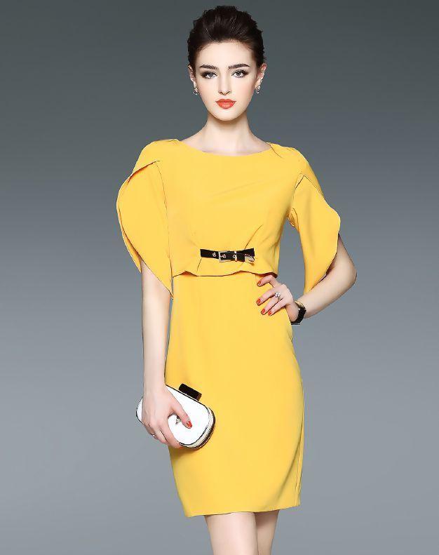Yellow Plain Tulip Sleeve Sheath Elegant Dress