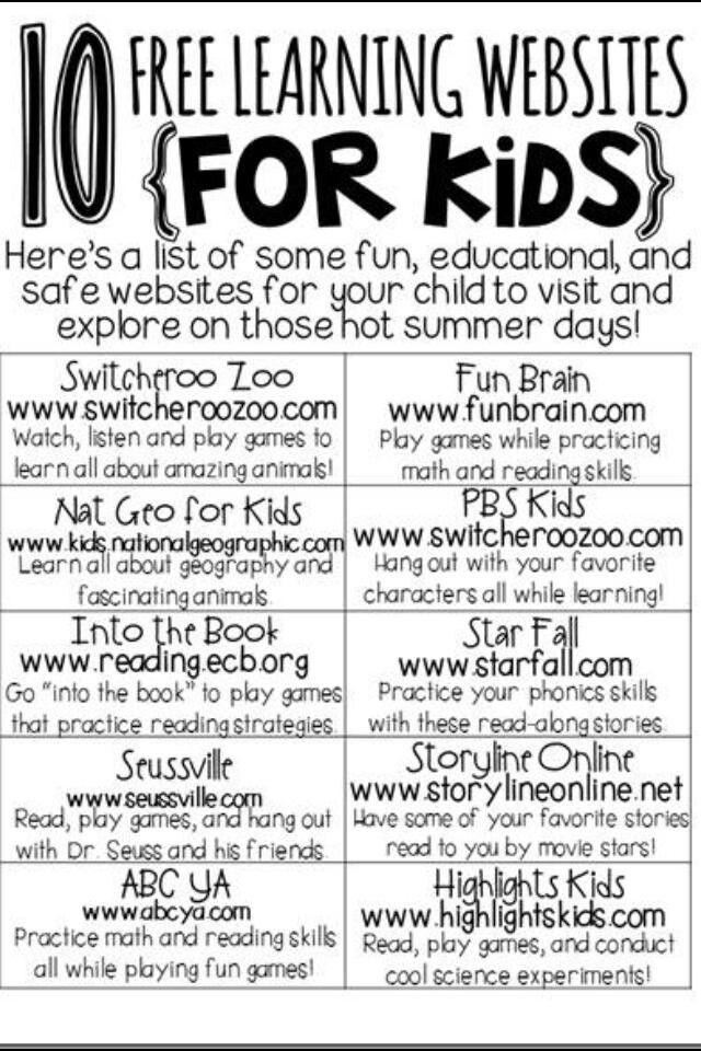 Free kid learning websites..Some kids actually learn and absorb more from technology!