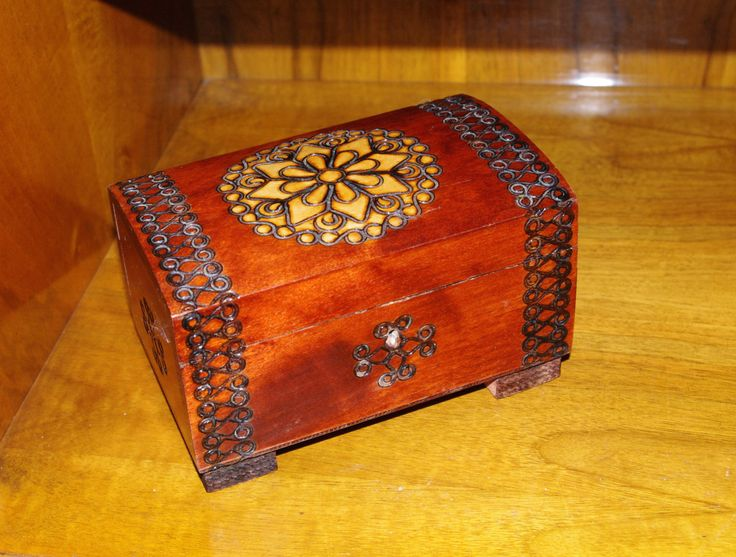 Rare Decorative Ukrainian Wood Box Trinket Box Jewelry Box Stars