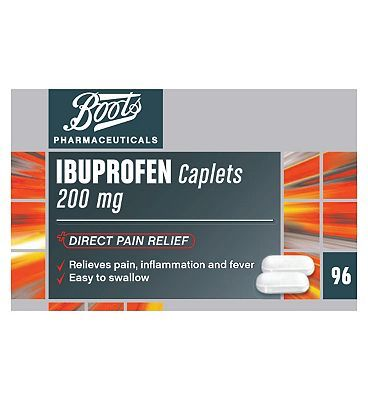 #Boots Pharmaceuticals Boots Ibuprofen 200mg - 96 Caplets 10168107 #32 Advantage card points. Boots Pharmaceuticals Ibuprofen 200mg Caplets for direct pain relief. Relieves pain, inflamation and fever. Easy to swallow. See details below, always read the label. FREE Delivery on orders over 45 GBP. (Barcode EAN=5045095384265)