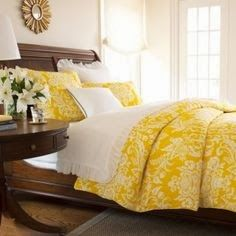 Home Decor Ideas: Love yellow in the bedroom, so bright and happy. :)