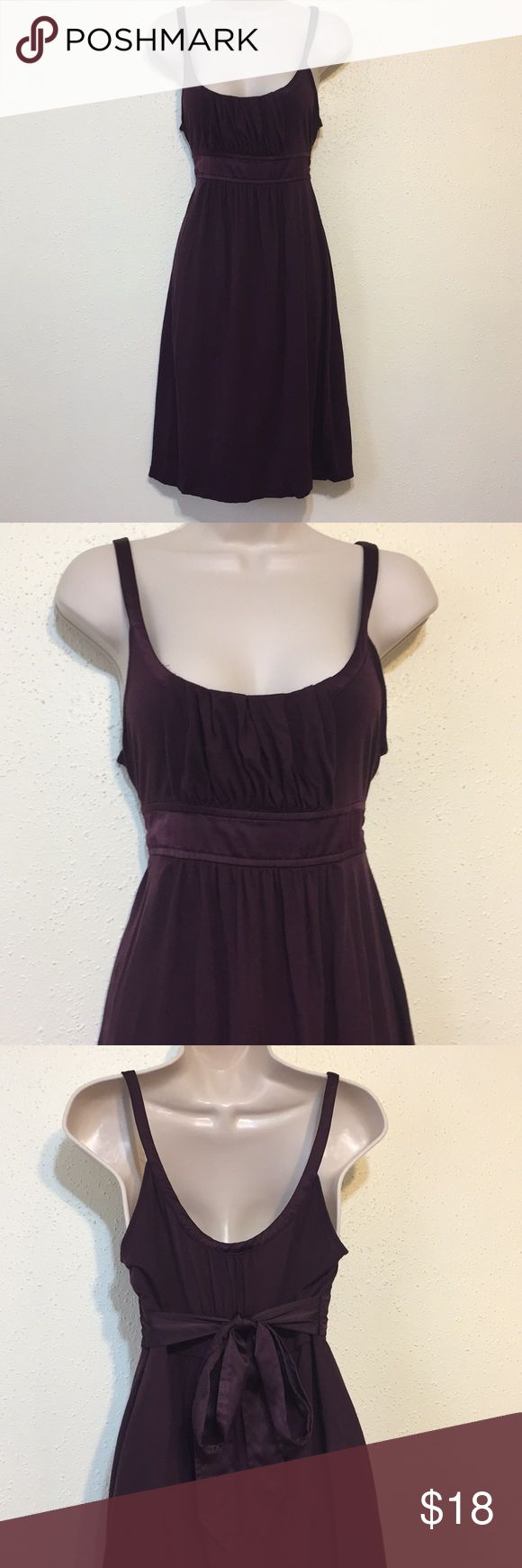 American Eagle Outfitters Purple Cami Dress Deep purple knee length dress with waist tie. Gorgeous silk sash around upper waist. Silk line straps and trim around top. Body 60% Modal 40% Cotton. Gently worn with light piling. American Eagle Outfitters Dresses Midi #americaneagleoutfitters