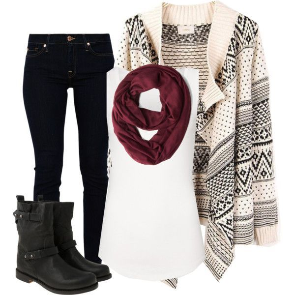 Skinny Jeans, Tribal Print Sweater, White Tank, Scarf and ...