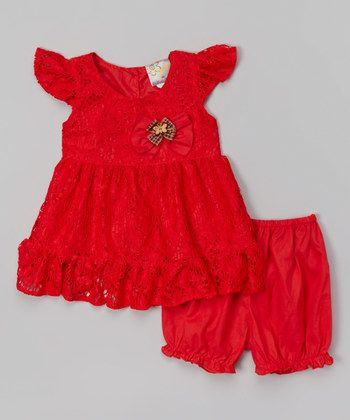 Red Lace Angel-Sleeve Dress & Bloomers - Infant