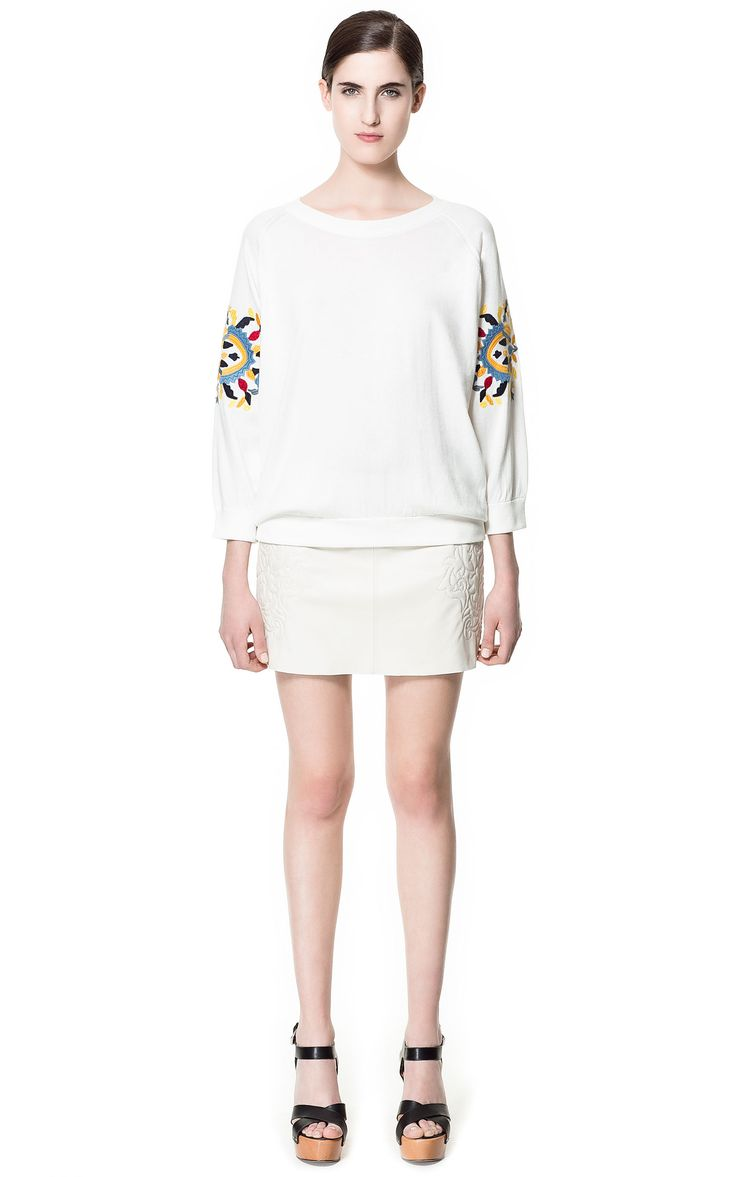 Zara Leather Skirt Embroidered At The Side in White (off white)   Lyst