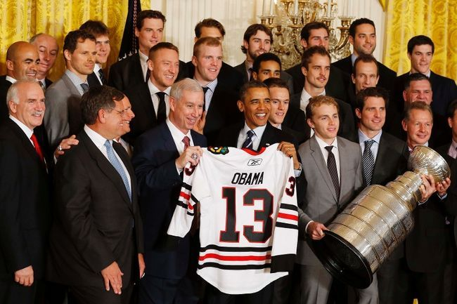 The 2013 Stanley Cup champion Chicago Blackhawks visited the White House Monday to meet the president.