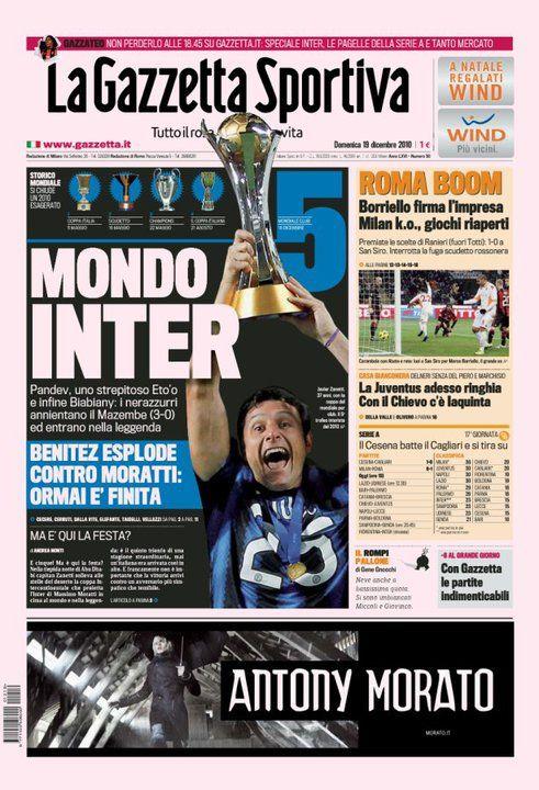 Gazzetta dello sport / prima pagina  (quotidiano sportivo RCS) anno 2010