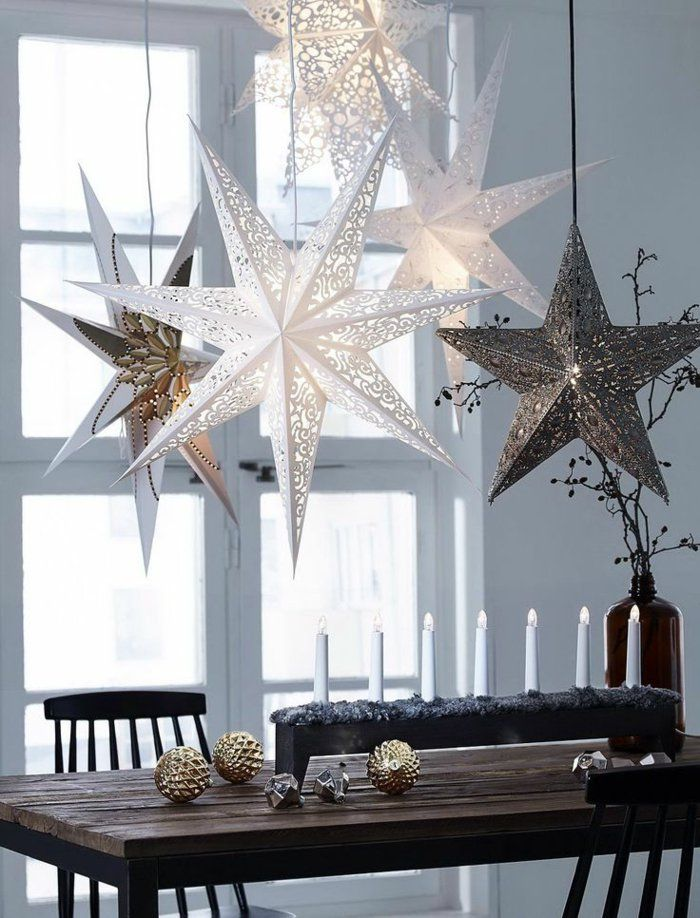 weihnachtsschmuck ideen skandinavisch kerzen weihnachtssterne