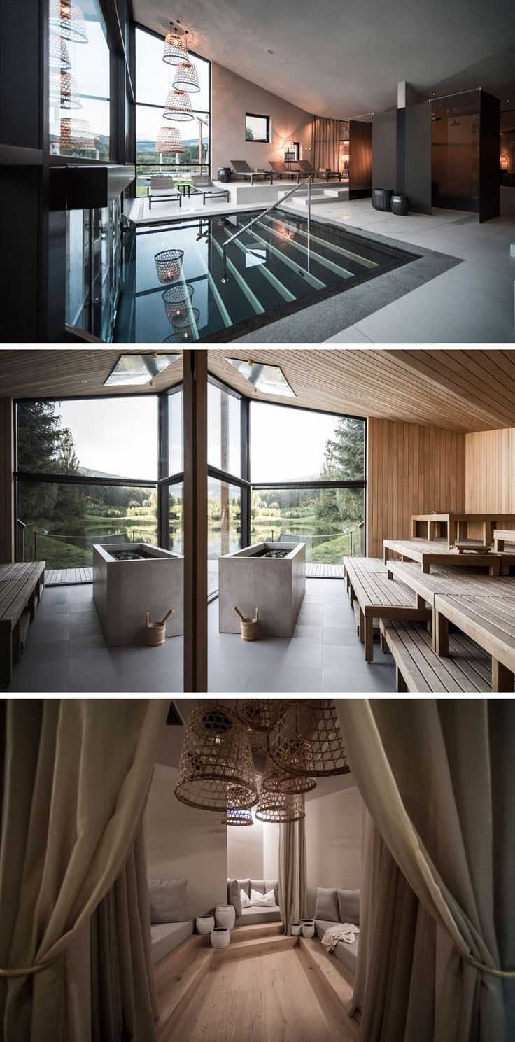 This modern hotel in Italy has a wellness center where large windows provide views of the trees and tiered levels have been used to create different seating areas, while in the sauna more windows give people a connection to nature. There's also a darker room with private lounges that can be closed off with curtains. #WellnessCenter #HotelDesign #SpaDesign